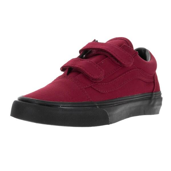Vans Kids Old Skool V (Black Sole) Jester Red Skate Shoe
