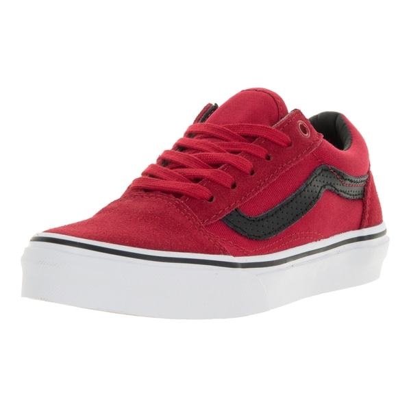 Vans Kids Old Skool (C&P) Racing Red/Black Suede Skate Shoe