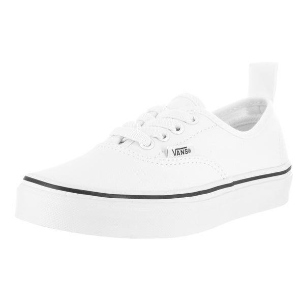 Vans Kids' Authentic True White Canvas Elastic Laces Skate Shoes