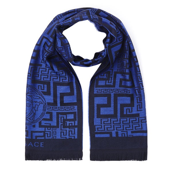 Versace Blue Wool Geometric Print Scarf