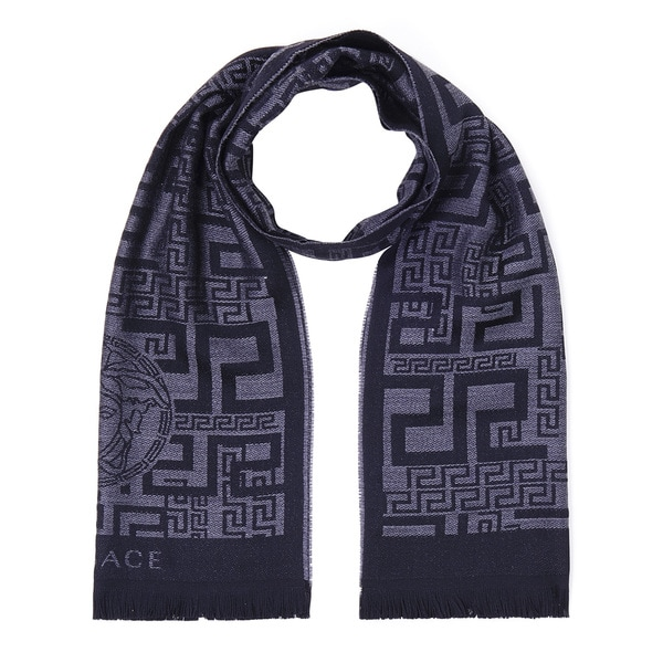 Versace Grey Patterned Wool Scarf
