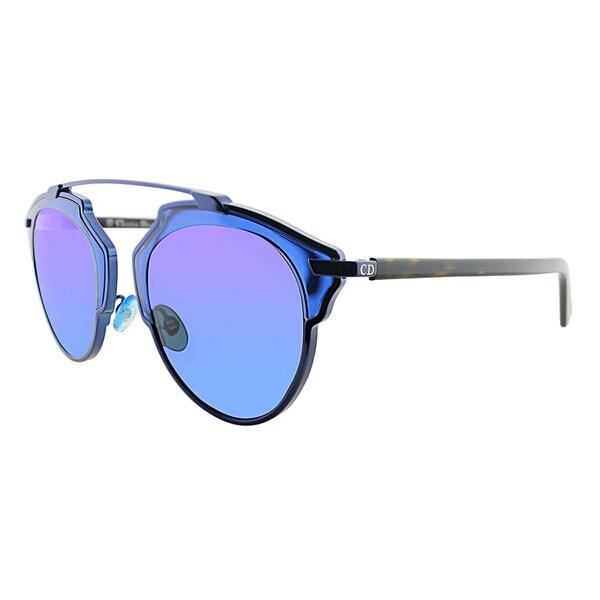 Dior Dior So Real KMA TR Shiny Blue Havana Metal Aviator Smoke Blue Mirror Lens Sunglasses