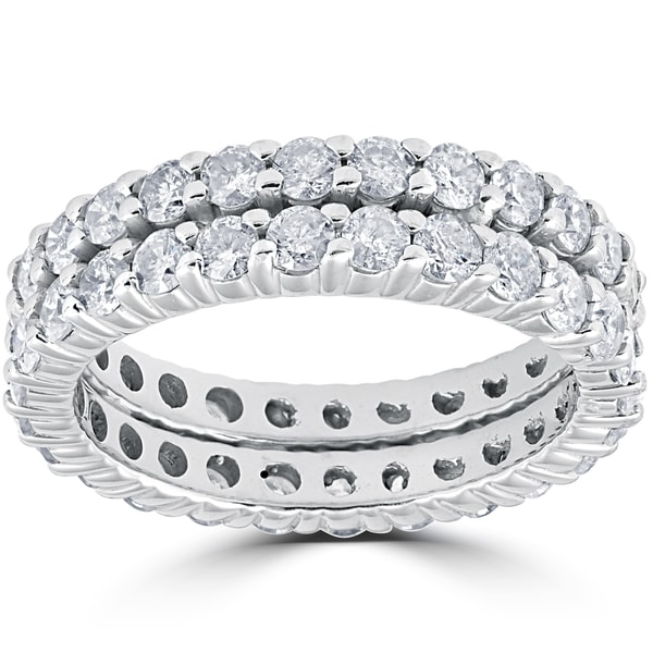 14k White Gold 3ct Diamond Eternity Double Row Womens Wedding Ring (I-J, I2-I3)