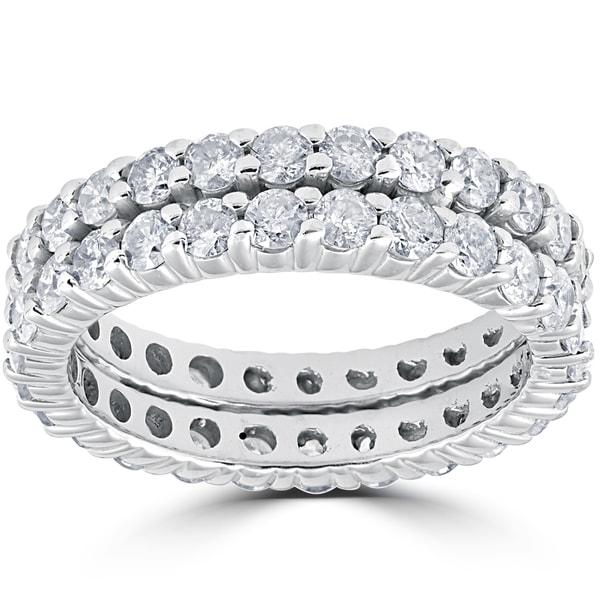 14k White Gold 3ct Diamond Eternity Double Row Womens Wedding Ring (I-J, I2-I3)