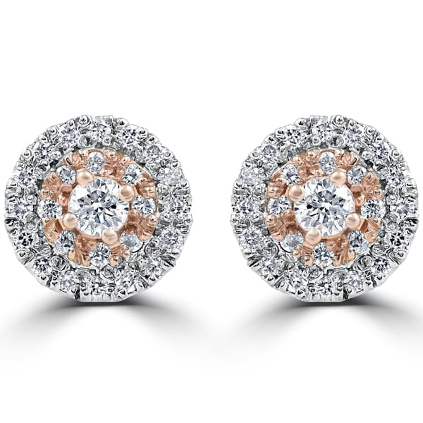 14k White & Rose Gold 5/8 ct TDW Diamond Double Halo Studs (F-G, SI1-SI2)