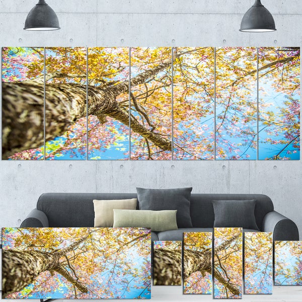 Designart 'Under Branch of Yellow Cherry Tree' Modern Trees Extra Large Canvas Wall Art