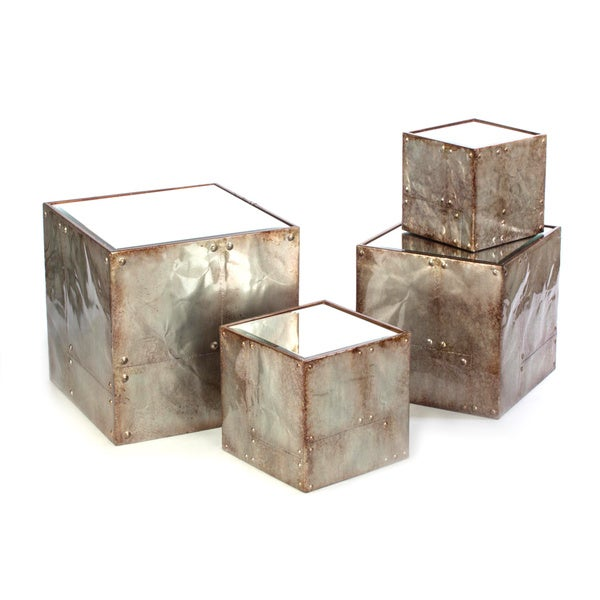 Mirrored-top Metal 4-piece Cubes Set