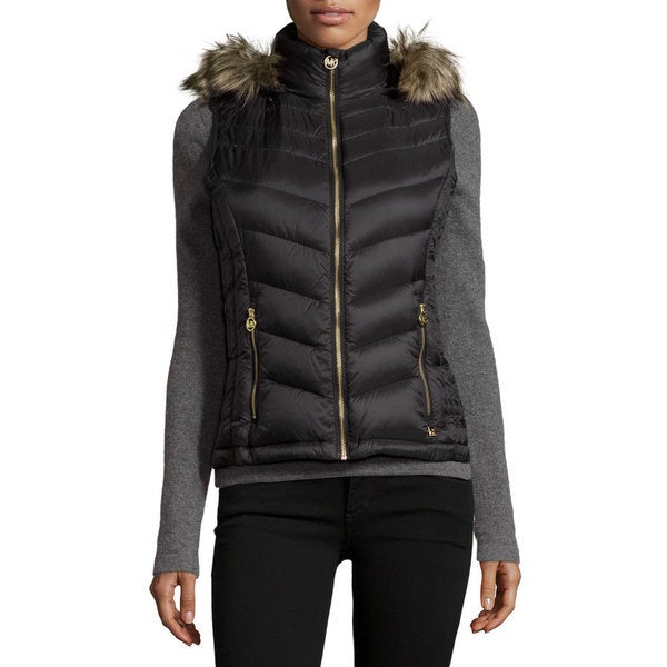 Michael Kors Women's Black Nylon and Polyester Hooded Puffer Vest