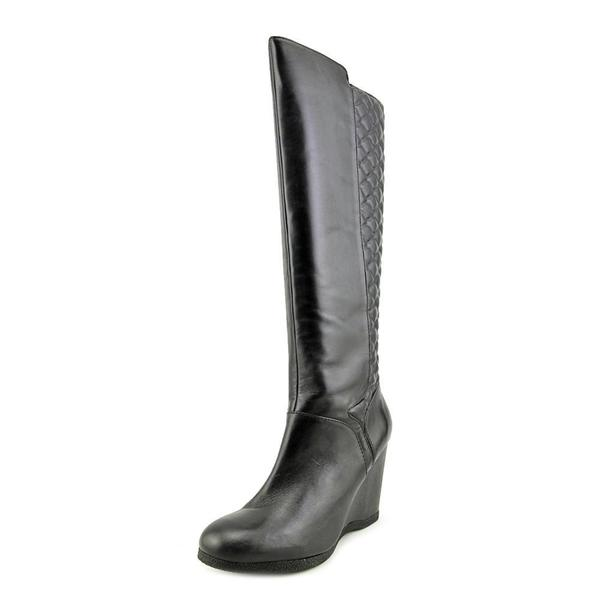 Nine West Women's Vienneo Black Leather Knee-high Boots