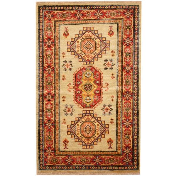 Herat Oriental Afghan Hand-knotted Kazak Wool Rug (3'2 x 5'1) - 3'2 x 5'1 22143233