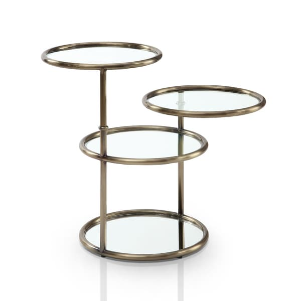 Furniture of America Korra Modern Round Swivel Glass/Champagne End Table