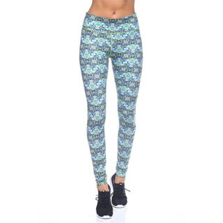 Women's Blue Floral Nylon Yoga Print Legging