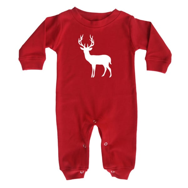 Rocket Bug Holiday Red Christmas Long Sleeve Baby Jumpsuit Romper