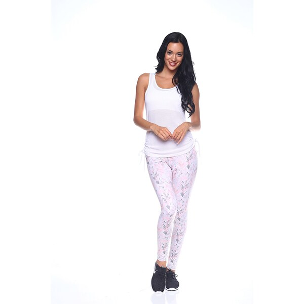 Women's Pink Nylon Printed Activewear Leggings
