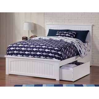 Nantucket Full Platform Bed with Matching Foot Board with 2 Urban Bed Drawers in White