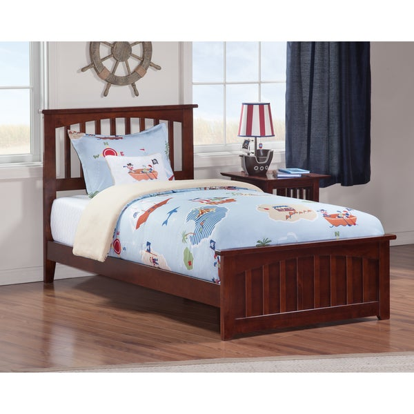 Mission Twin Bed with Matching Foot Board in Walnut