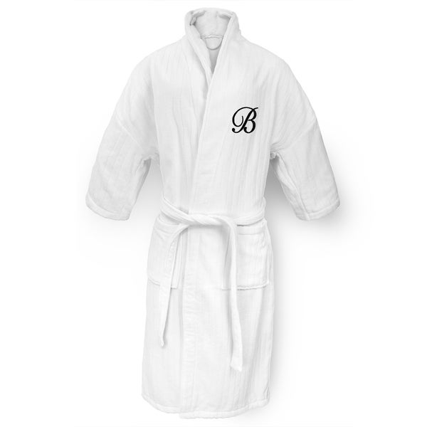 White Railroad Robe with Black Monogram
