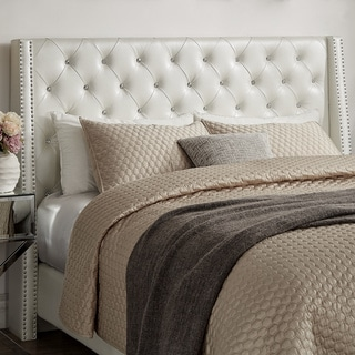 Aurora Faux Leather Crystal Tufted Nailhead Wingback Headboard by iNSPIRE Q Bold