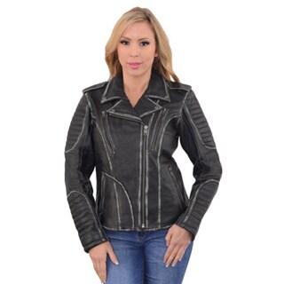 Rubb Off Women's Black Motorcycle Jacket with Full Hoodie Liner 22155845