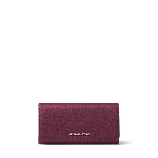 Michael Kors Women's Jet Set Travel Plum Leather Large Gusset Carryall Wallet
