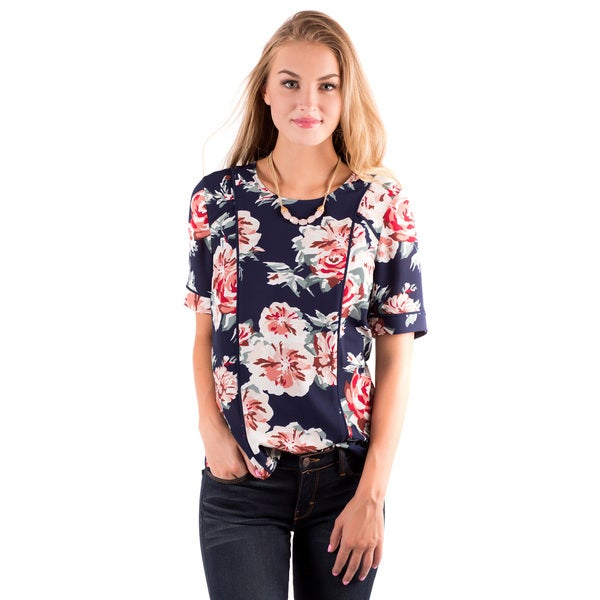 DownEast Basics Women's Multicolor Polyester Floral Shell Top