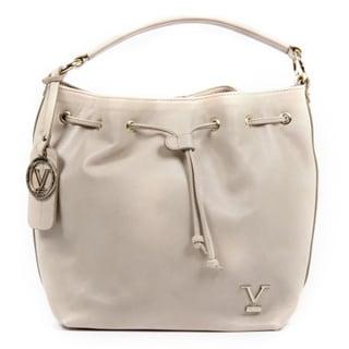 Versace 1969 V Italia Leather Beige Shoulder Draw String Bag