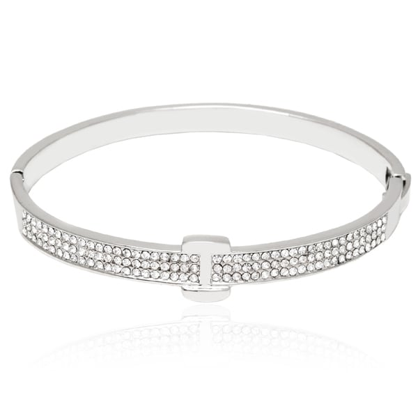 Peermont Rhodium-Plated Silver and White Fashion Belt Bangle