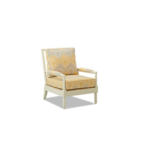 Klaussner Rocco White Occasional Chair with Grey/Yellow Damask Upholstery
