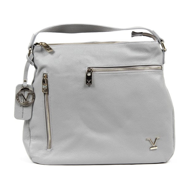 Versace 1969 V Italia Leather Light Grey Tote Bag