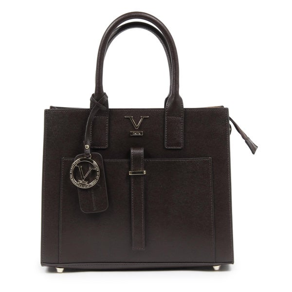 Versace 1969 V Italia Leather Brown Tote Bag