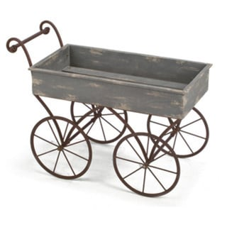 Blue and Grey Metal and Wood Wagon