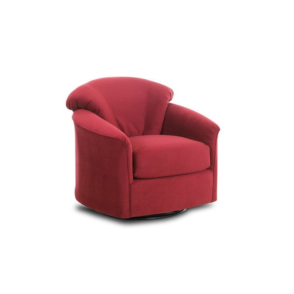 Klaussner Cushioned Red Swivel-Glide Chair