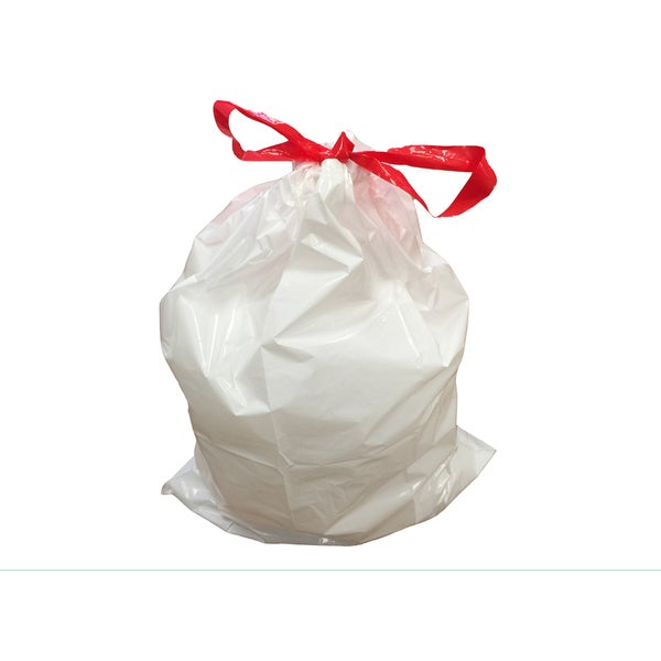 White Plastic 45-liter 12-gallon Durable Garbage Bags Fit Simple Human M (Case of 100)