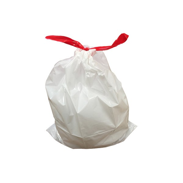 White Plastic 8-12 Gallon Durable Garbage Bags (Pack of 10)