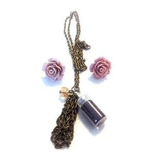 Dusty Pink Rose Earring and Necklace Set