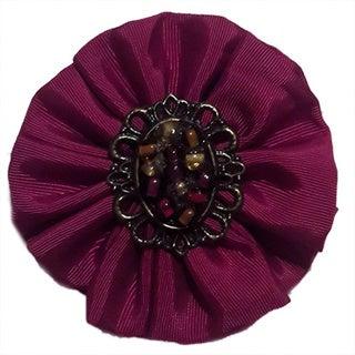 Dark Pink Fabric Beaded Rosette Brooch