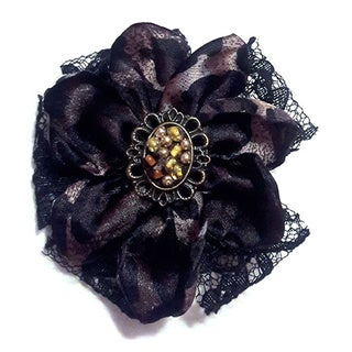 Leopard Print and Black Lace Rosette Brooch