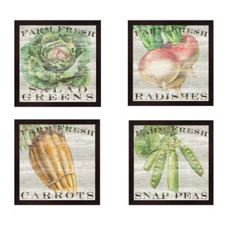 Sue Schlabach 'Farm Fresh Vegetables' Framed Art Pieces (Set of 4)