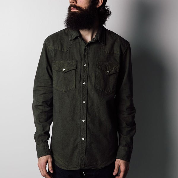 1791 Supply & Co Men's Olive Washed Canvas Western Shirt
