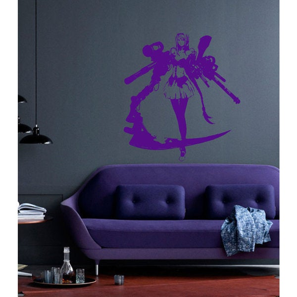 Anime decal, Anime stickers, Anime Vinyl, Woman gun pistol, Woman gun pistol Anime Sticer Decal Size 22x30 Color Black