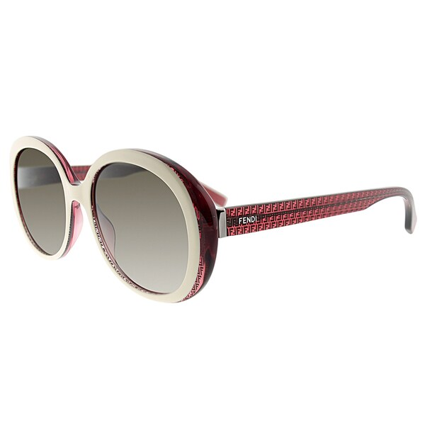 Fendi FF 0001 7PB/HA White Red Plastic Round Grey Gradient Lens Sunglasses