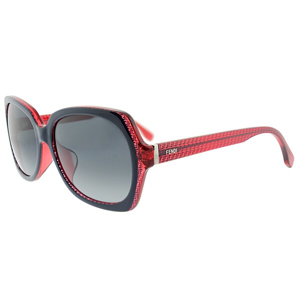 Fendi FF 0002/F 7PP/HD Asian Fit Black Red Plastic Square Grey Gradient Lens Sunglasses