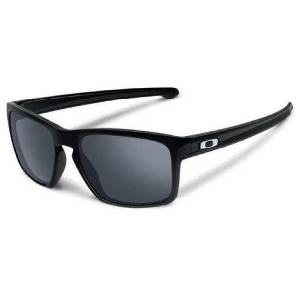 Oakley Men's Sliver Polished Black Rectangular Sunglasses with Black Iridium Lens