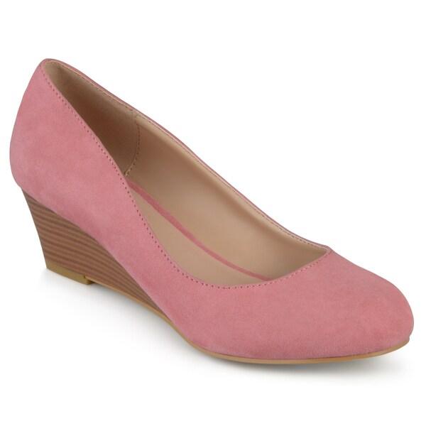 Journee Collection Women's 'Telora' Faux Suede Stacked Wood Heel Wedges 22180038