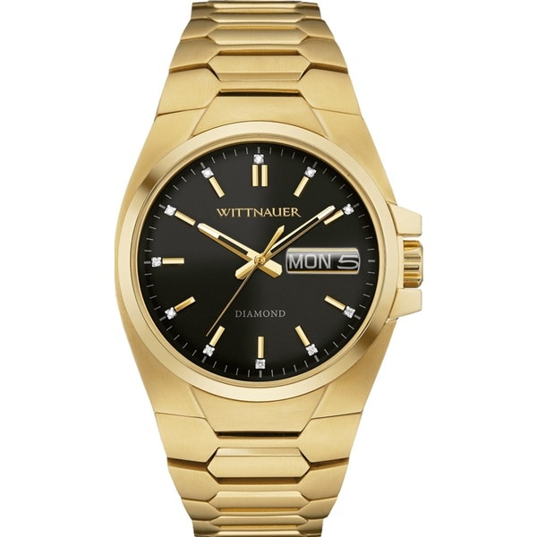 Mens Wittnauer Gold and Black Dial Watch