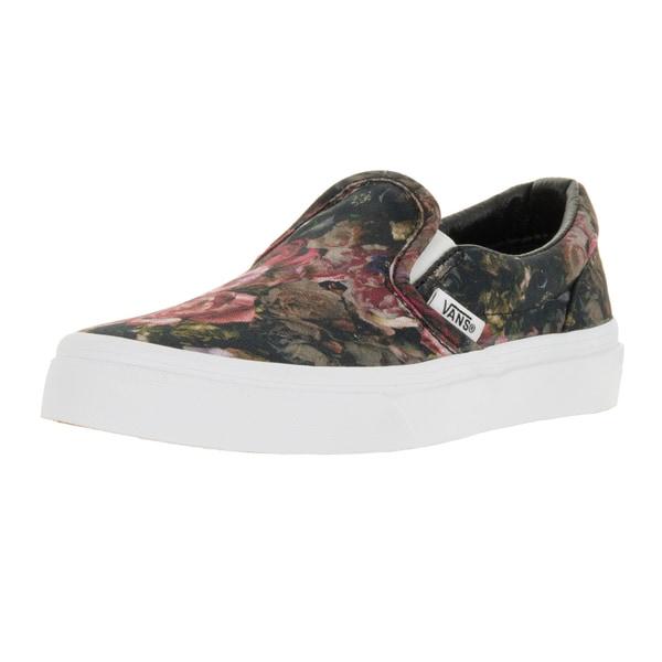 Vans Kids' Classic Slip-on Moody Floral Black Canvas Skate Shoes