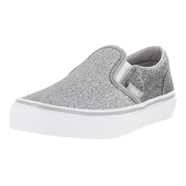 Vans Kid's Classic Silver Textile Slip-on Shimmer Skate Shoe