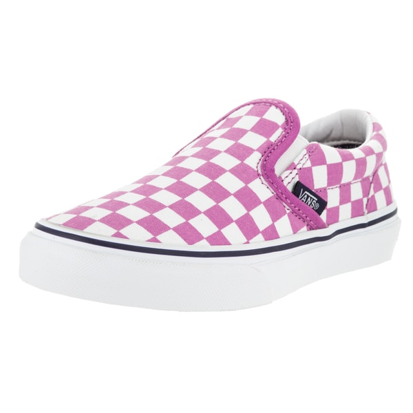 Vans Kid's Pink Canvas Classic Slip-on Checkerboard Skate Shoe
