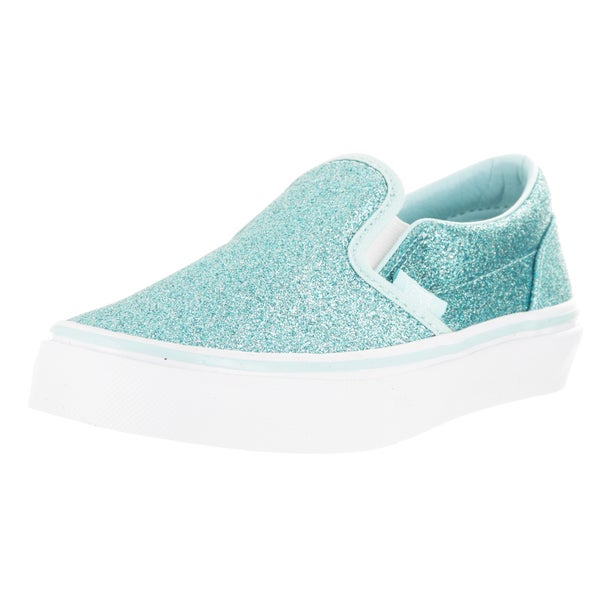 Vans Kids Classic Slip-On (Shimmer) Blue Skate Shoe