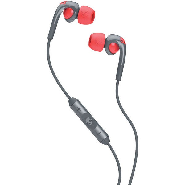 Skullcandy Fix Bud Grey and Hot Red Earbuds